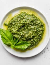 A white plate with fresh basil pesto on it.
