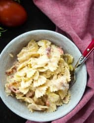 Chicken, Bacon, and Tomato Bowtie Pasta | Salt & Baker
