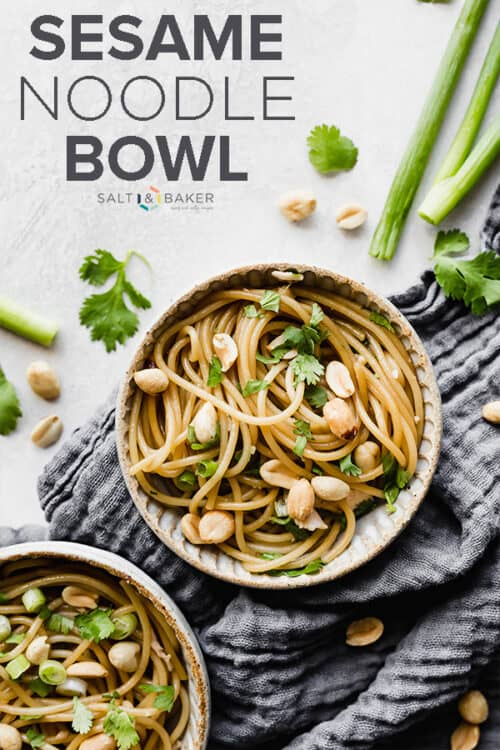 A bowl of sesame soy noodles topped with green onions and peanuts.