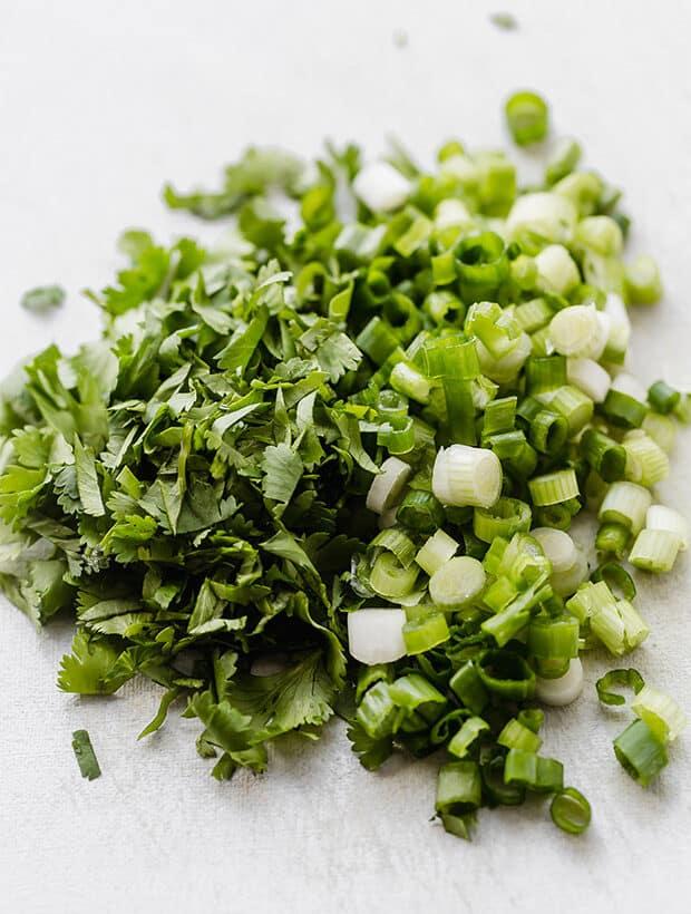 Chopped cilantro and green onions.