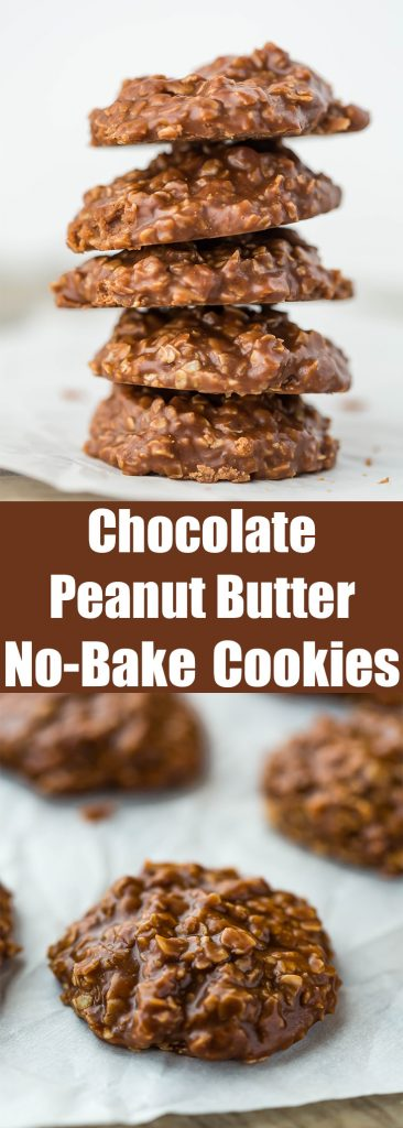 The BEST EVER chocolate peanut butter oatmeal no-bake cookies!