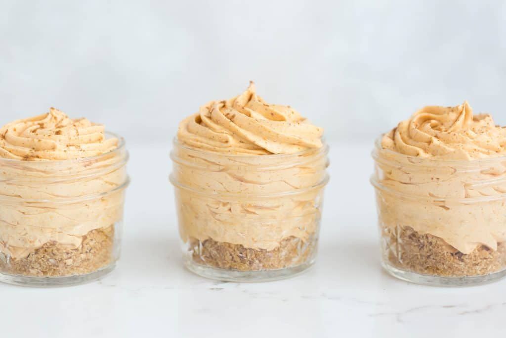 Mini Pumpkin Spice No-Bake Cheesecakes | Salt & Baker