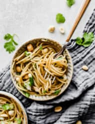 A bowl of sesame noodles and chopped cilantro, peanuts, and chicken.