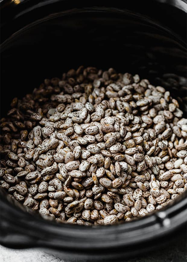 A black slow cooker full of dry pinto beans.