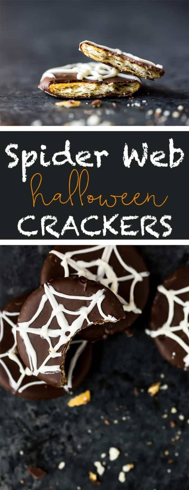 A white chocolate spider web drizzled on chocolate ritz crackers.