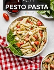 A plate of pesto pasta with tomatoes and fresh basil.