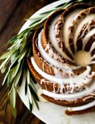 Top view of a gingerbread bundt cake with maple glaze.