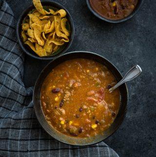 Bowl of Taco Soup.