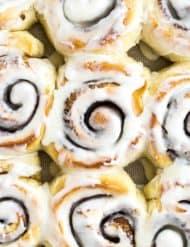 Glazed cinnamon rolls.