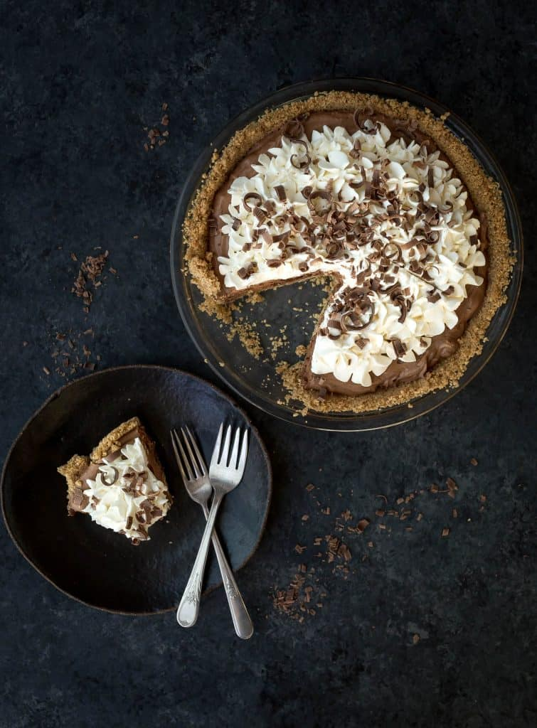 Slice of French Silk Pie on a plate.