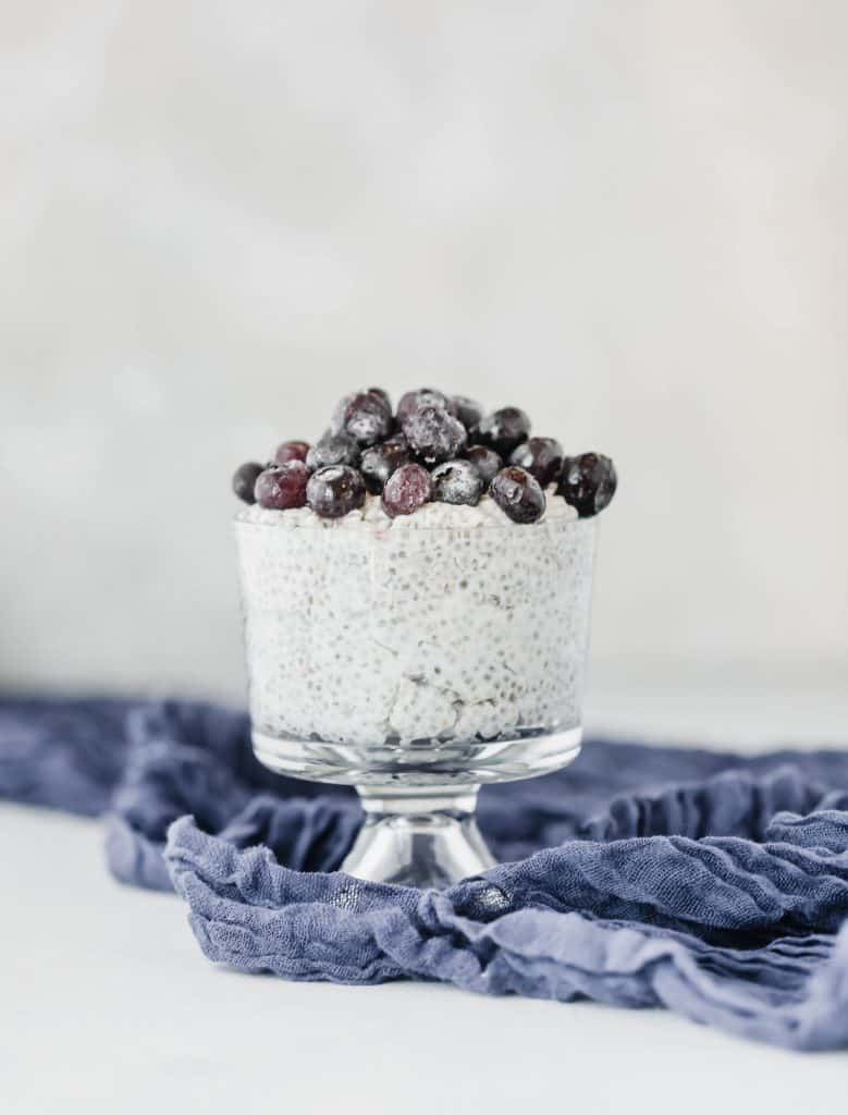 Overnight Coconut Chia Pudding with blueberries.
