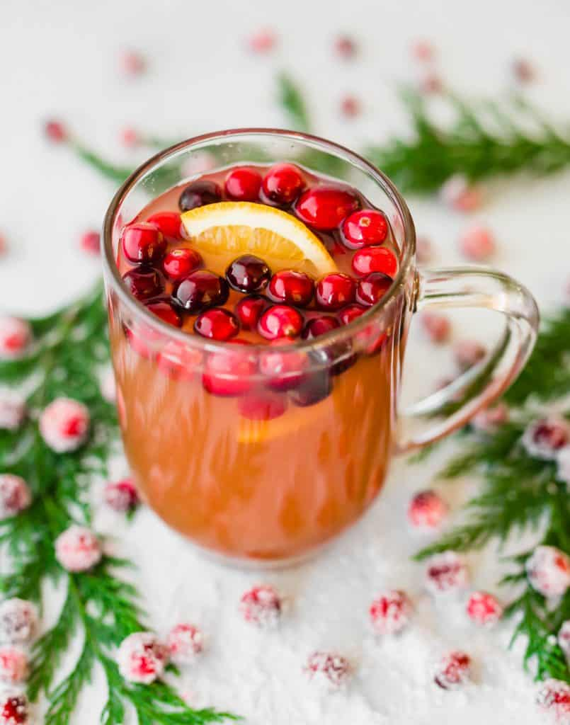Cranberry Apple Cider with cranberries and orange slice in a glass mug.
