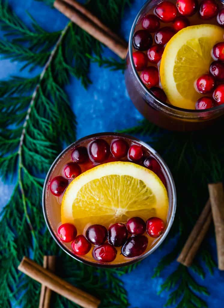 Cranberry Apple Cider with orange and cranberries.
