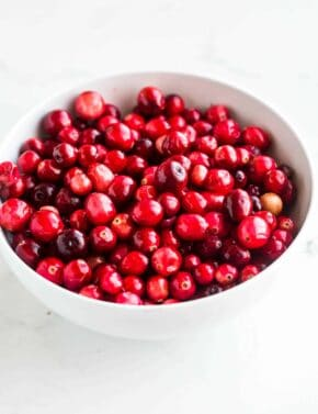 Bowl of cranberries.