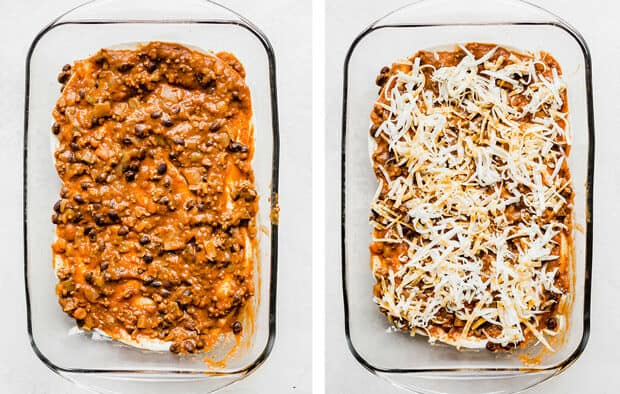 Left photo, Mexican Lasagna filling overtop 2 flour tortillas; right photo shredded cheese overtop the filling.