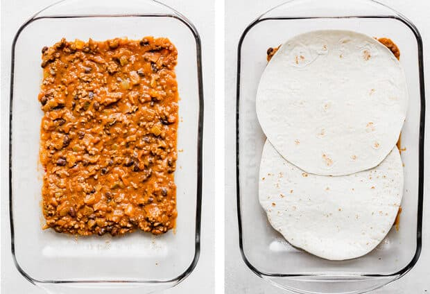 Left photo has Mexican Lasagna filling in a 9x13 pan. Right photo Mexican Lasagna filling is topped with two flour tortillas.