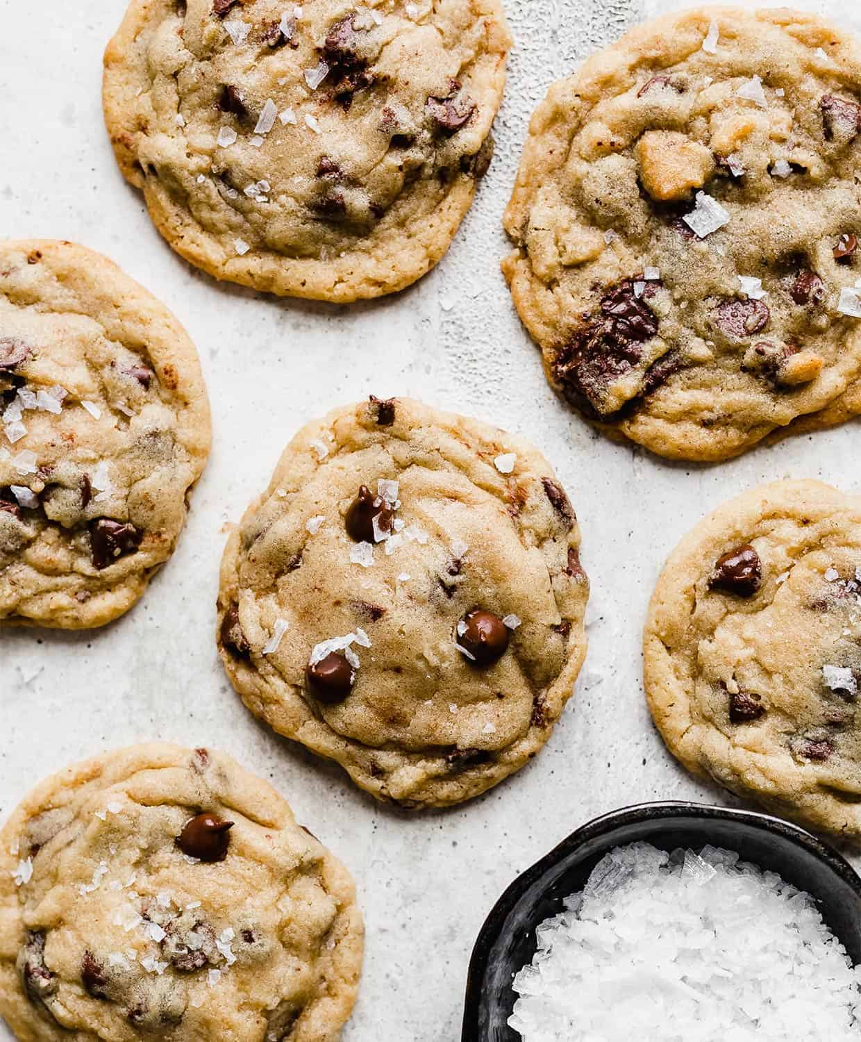 Chocolate Chip Cookies against a white background.