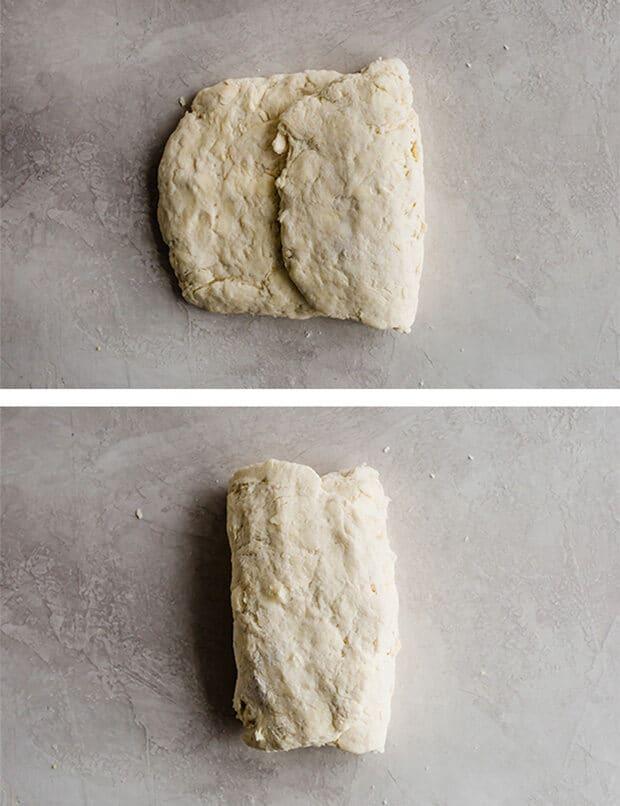 Folded Buttermilk Biscuits dough.