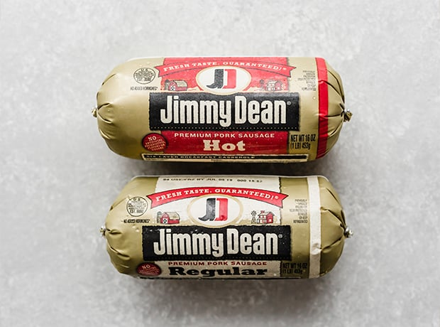 Two Jimmy Dean sausage rolls, one regular and one hot, for making sausage cream cheese dip.