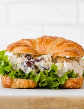 Chicken Salad Croissant Sandwiches with lettuce.