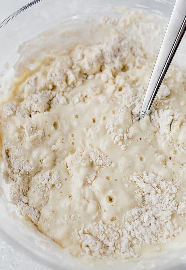 Close up photo of lumpy pancake batter.