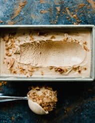 Homemade Chocolate Ice Cream topped with Symphony Bar chocolate curls. This is the creamiest ice cream you'll ever have!