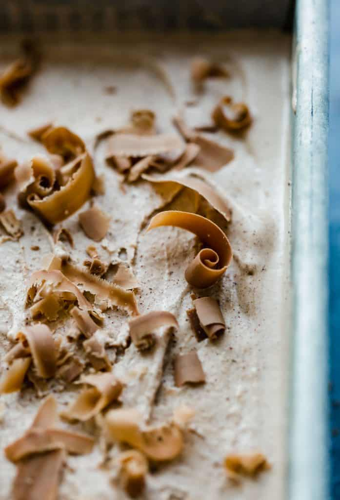 Homemade Chocolate Ice Cream topped with Symphony Bar curls.