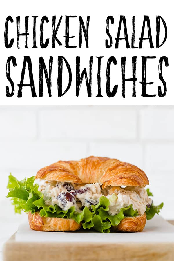 The PERFECT Chicken Salad Sandwich recipe is here! This sandwich is full of so much flavor! It's perfect for brunch or parties! #food #sandwiches #easymeals #brunch #partyfood #fingerfood #saltandbaker