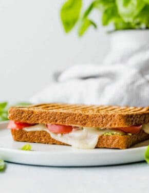 Grilled Sandwich stuffed with fresh tomatoes, mozzarella, and pesto.
