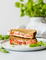 This Grilled Tomato, Mozzarella, and Pesto Sandwich is bursting with flavor! The pesto, mayo, and tomato make for an extra moist and juicy sandwich!