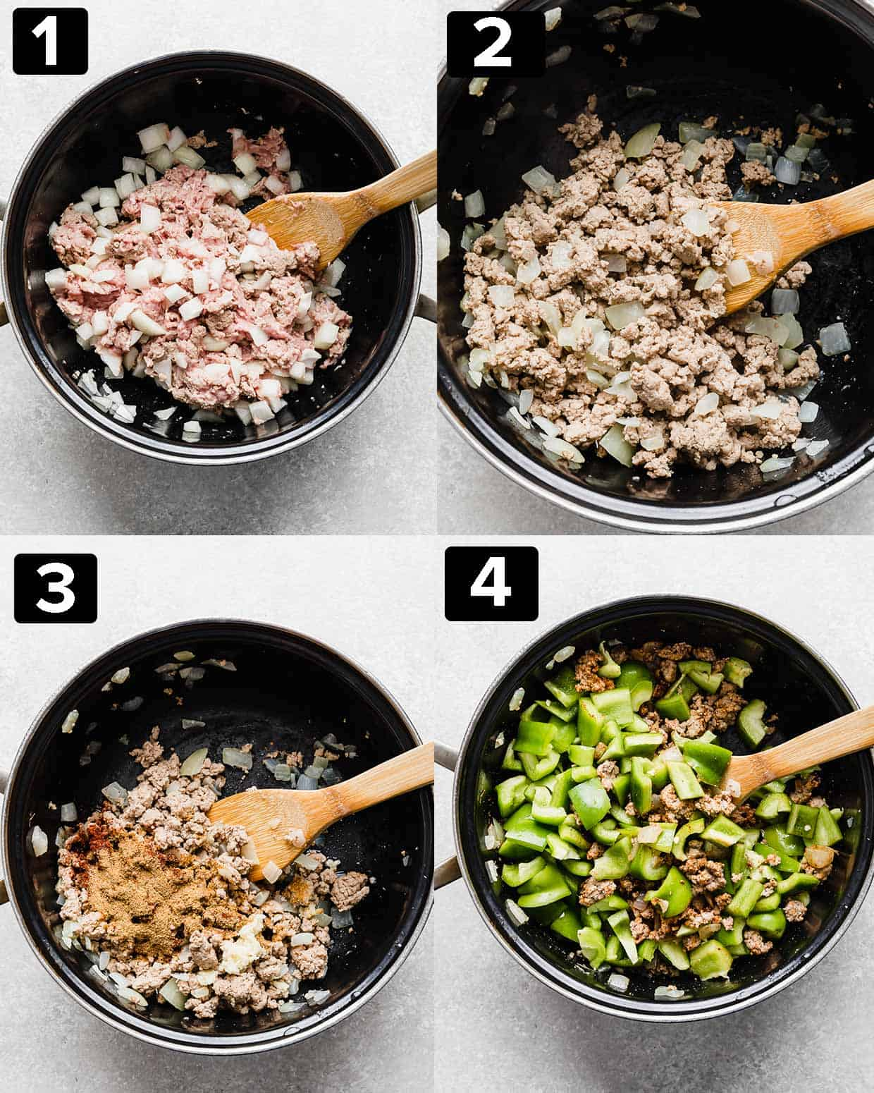 A four photo collage illustrating the process of making Deconstructed Stuffed Peppers.