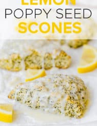Lemon poppy seed scones with a glaze overtop.