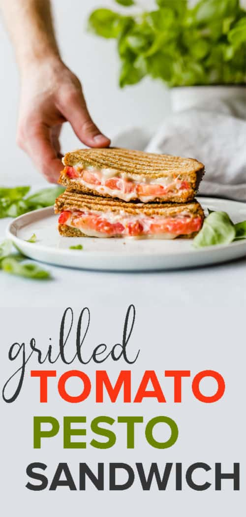 This Grilled Tomato, Mozzarella, and Pesto Sandwich is bursting with flavor! The pesto, mayo, and tomato make for an extra moist and juicy sandwich! Full is at saltandbaker.com #saltandbaker #sandwiches #lunchideas #sandwichrecipes #easyrecipes #kidfriendly #tomato #pesto