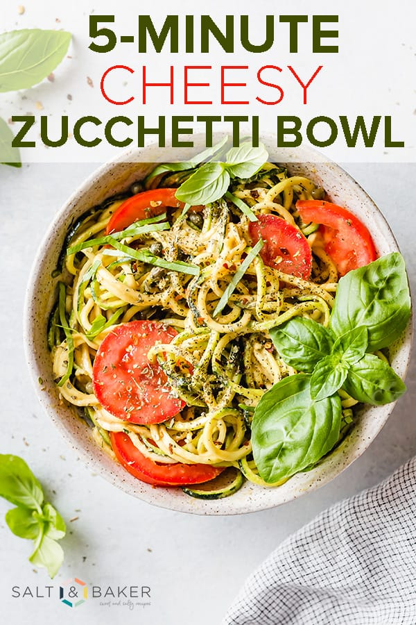 5-Minute Cheesy Zucchetti Bowl, is a quick and easy dish using zucchini noodles! Gluten-free and vegan! #saltandbaker #vegan #glutenfree #zucchini #zucchininoodles #5minutemeals