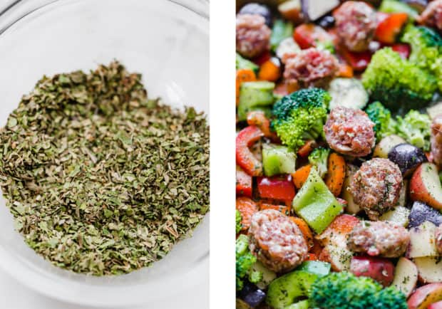 Two pictures, the left one is a bowl of various spices, the right picture is a picture of the raw meat and vegetables scattered on a sheet pan ready for oven roasting.