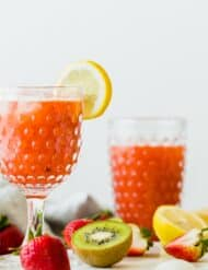 A refreshing Strawberry Kiwi Lemonade drink! This is the perfect way to quench your thirst during the warm spring and summer months. Get the full recipe at saltandbaker.com