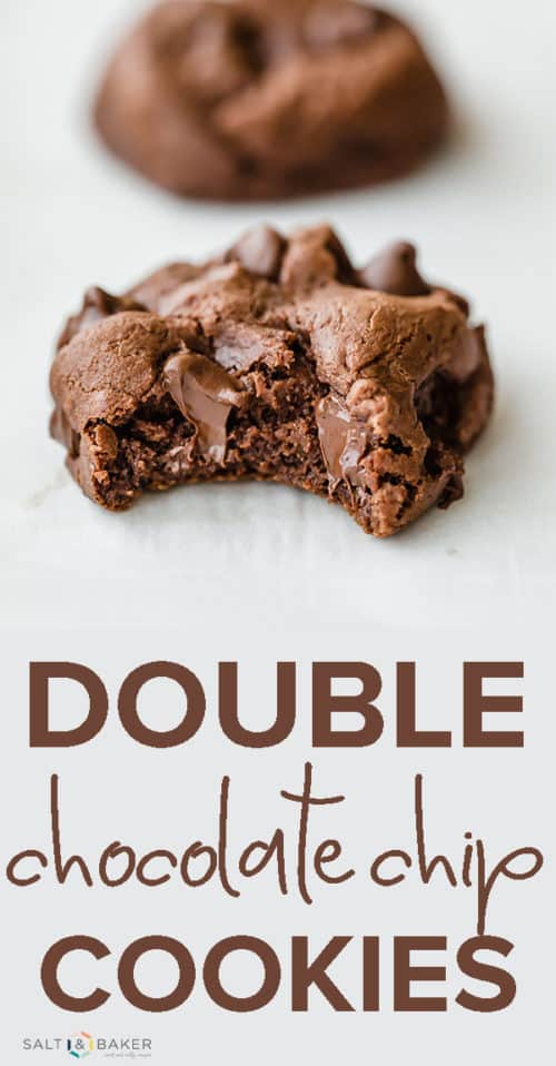 The Best Double Chocolate Chip Cookies! Thick, chewy, and full of melty chocolate chips, these cookies are a chocolate lovers dream! Get the full recipe at saltandbaker.com #saltandbaker #chocolatechipcookie #doublechocolate #chocolatelovers #cookierecipes
