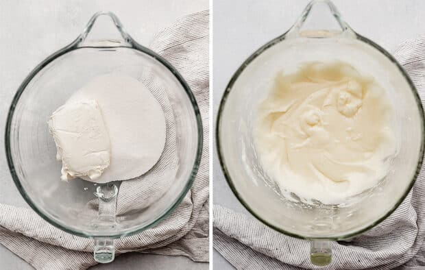 A glass bowl with cream cheese and sugar.