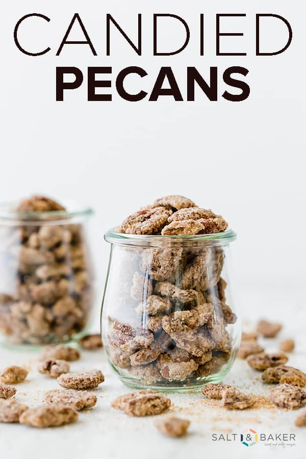 This candied pecan recipe is the perfect combination of sweet and crunchy, with a hint of cinnamon! You'll be amazed at how easy it is to make your own sugared pecans! Get the recipe at saltandbaker.com #saltandbaker #candiedpecans #sugaredpecans #cinnamonsugarpecans #pecans #saladtopping