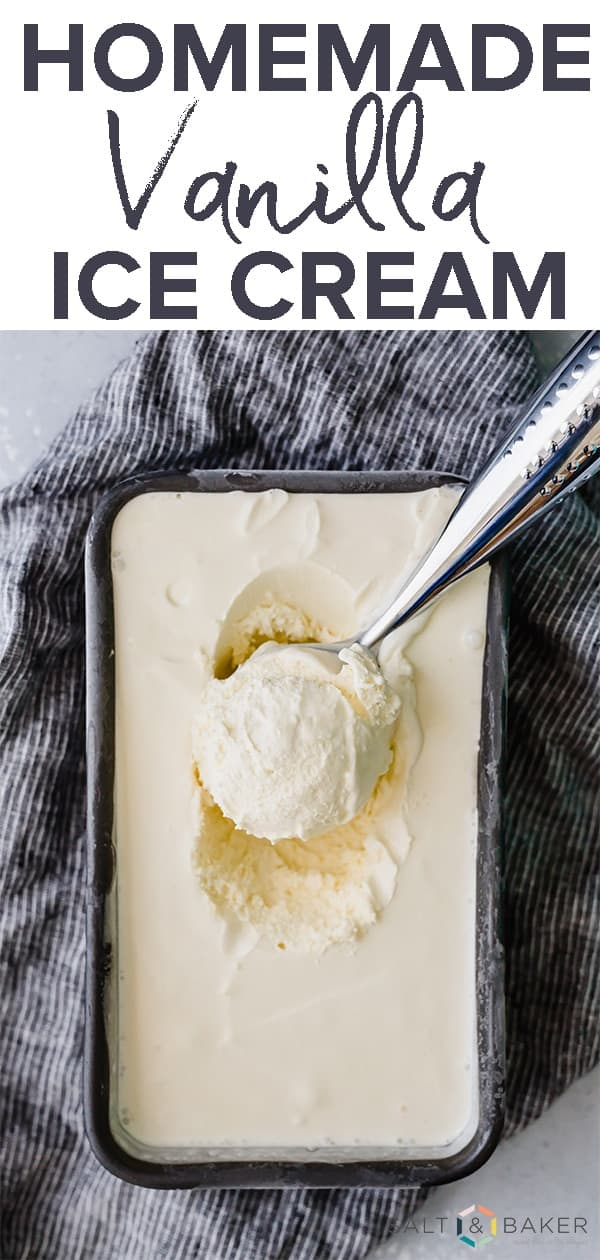 Delicious Homemade Creamy Vanilla Ice Cream recipe. This ice cream is custard based which makes it extra creamy! It's the perfect treat for those hot summer days. Get the full recipe at saltandbaker.com #saltandbaker #icecream #homemadeicecream #vanilla #vanillaicecream #frozendesserts