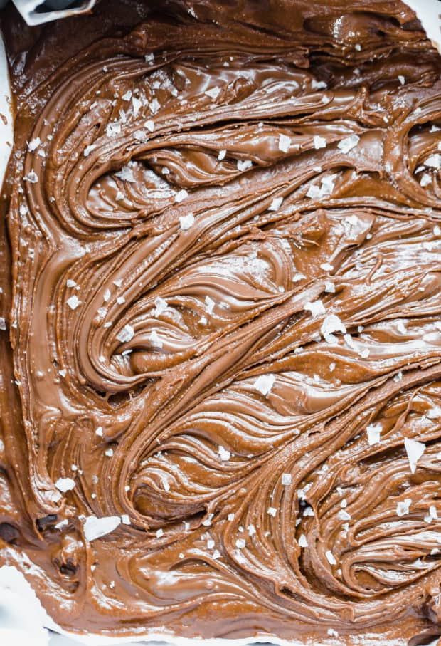 Nutella Brownies with Nutella swirled into the unbaked batter, with a sprinkle of flaky sea salt on the surface.