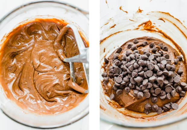 Two photos of Nutella Brownies, one as just plain batter and the right photo has chocolate chips added to the top.