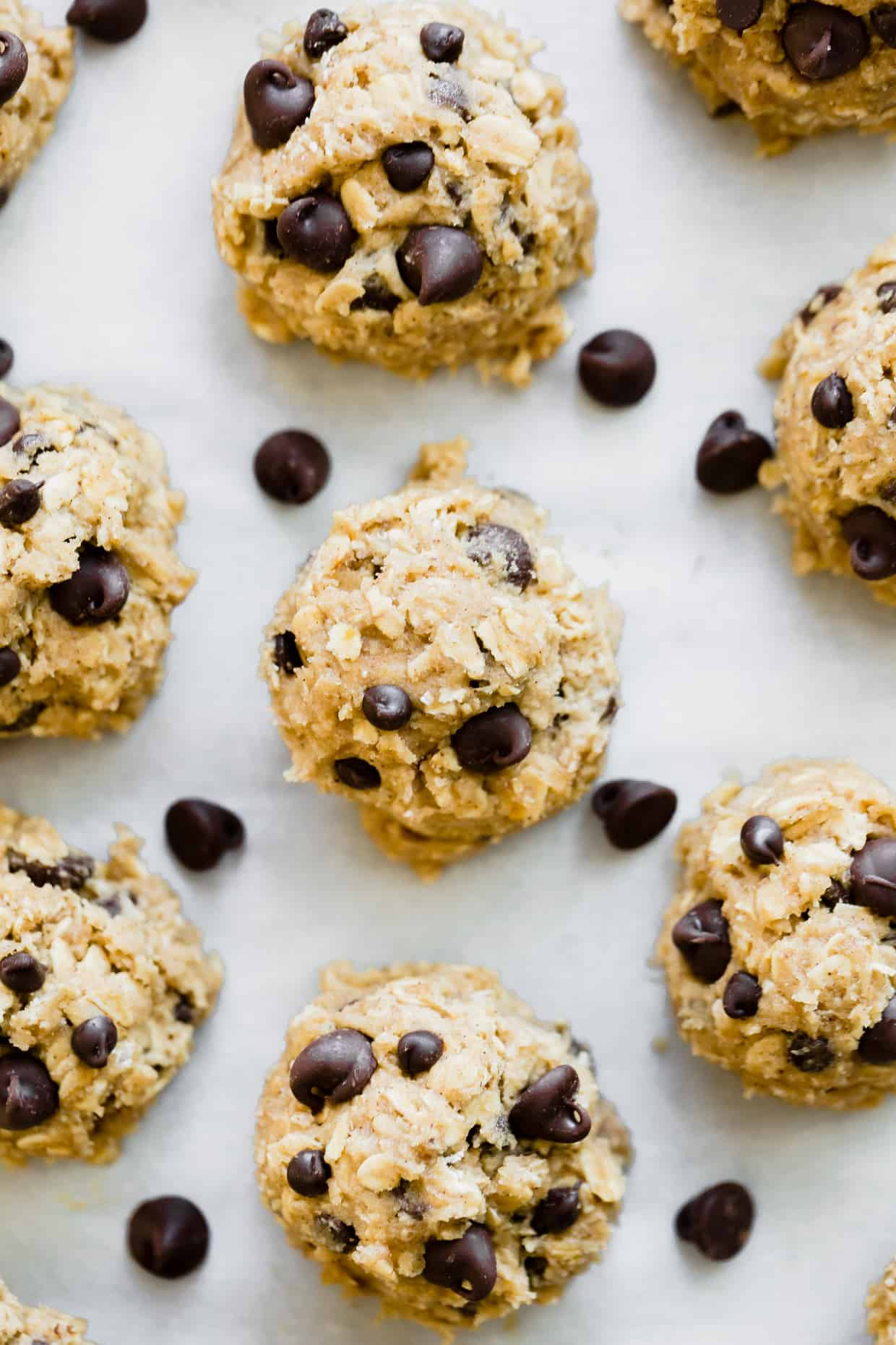 Oatmeal chocolate chip cookie dough rolled into small balls.