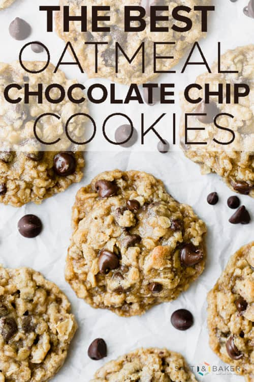 Overhead photo of Oatmeal Chocolate Chip Cookies with oats and chocolate chips scattered between the cookies.