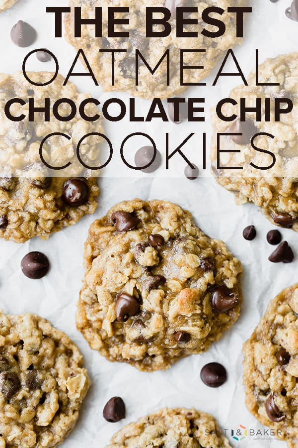 Soft and chewy Oatmeal Chocolate Chip Cookies! These cookies are studded with chocolate chips and loaded with oats! They're perfectly soft and full of amazing flavor! Be careful not to eat the entire batch!! Grab the full recipe at saltandbaker.com #saltandbaker #cookies #oatmealcookies #oatmealchocolatechip #chocolatechips #cookierecipe