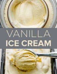Two photos of vanilla ice cream.