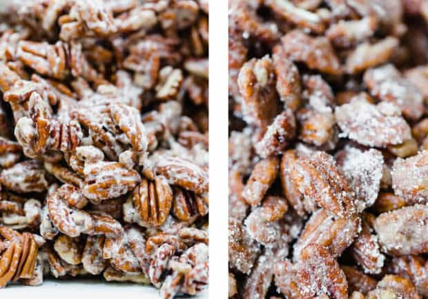 Two close up of photos of pecans, the left is covered in an egg white mixture, and the right photo shows pecans covered in the sugar coating mixture.