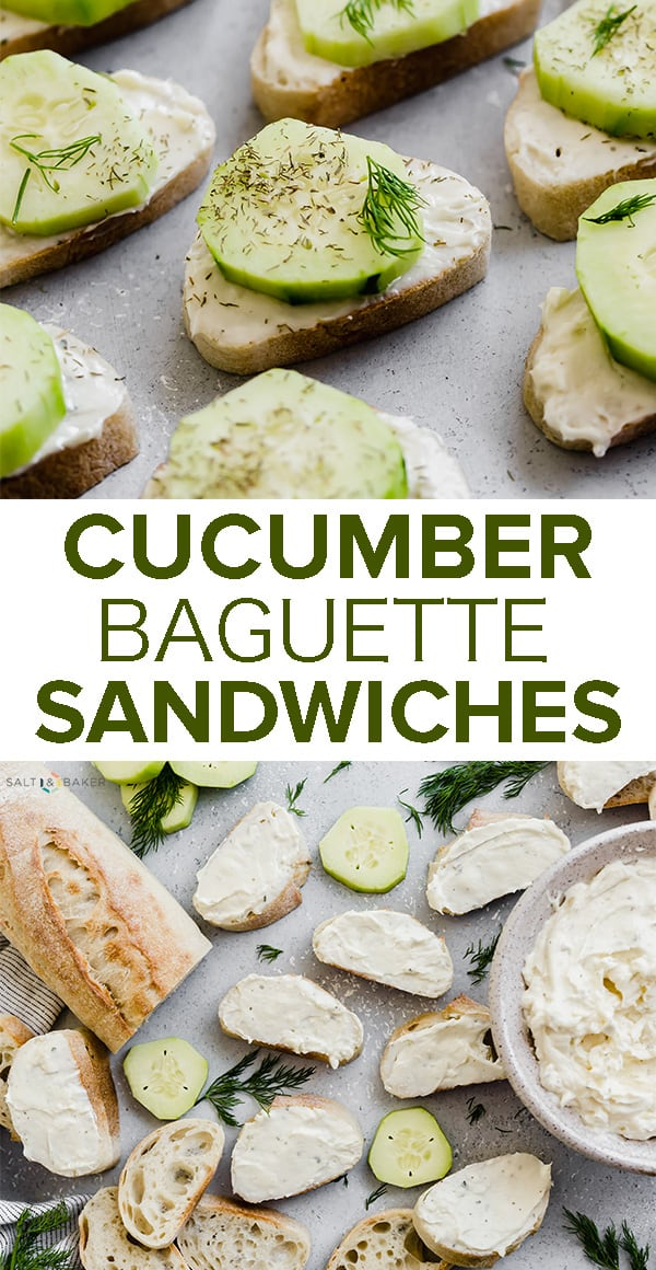 An appetizer suitable for ANY TIME of year! These Cucumber Sandwiches are refreshing and delicious and only take 20 minutes to make!! This is the perfect finger food to serve at any gathering or party!#saltandbaker #fingerfood #partyfood #cucumbersandwiches #cucumbers #appetizers