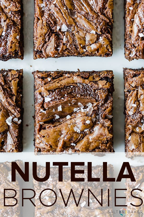 The ultimate Nutella Brownie! This brownie is packed with Nutella and melty chocolate chips. It's a thick, soft, chewy brownie that's impossible to resist! Get the full recipe at saltandbaker.com #saltandbaker #nutella #nutellabrownie #brownie #brownierecipe #nutellarecipe