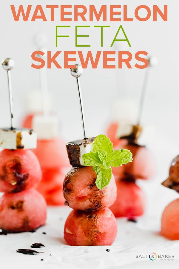 Watermelon Feta Skewers are refreshing and undeniably satisfying! The salty feta cheese paired with the sweet watermelon is a match made in heaven! #saltandbaker #watermelon #summerappetizers #summerfood #fingerfood #partyfood #balsamicreduction